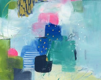 Original abstract Painting, mixed media, gold, dotted, contemporary art, Fine Art, Modern Art
