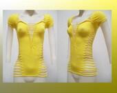 "SALE!!! SMALL - Junior / Womens "" SUNNY"" Shredded Yellow Top Club Wear"