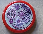 Flowers of a Violet Array, Freehand Embroidery, Spinrite Red Flex Embroidery Hanger, No. 1 in Flower Series