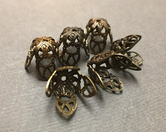 Vintaj Natural Brass Filigree Bead Caps. Brass Filigree Findings. Victorian Bead Caps. 10mm-12mm. Six (6).