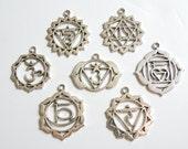 7 Chakras Charm Set yoga zen meditation antique silver large pendant charms DB53140