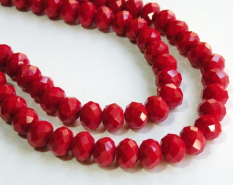 Christmas Red faceted rondelles 12x8mm full strand siam red crystal 009-211