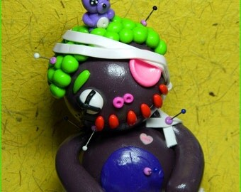 Manny McNibbled.  Full sized Clumzie Voodoo Doll. Hand Sculpted Polymer Clay Figurine. was 23.50 now only 19.50