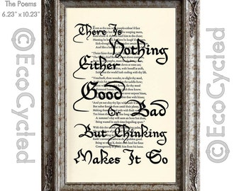 Shakespeare Nothing Either Good Or Bad Thinking Makes It So on Vintage Upcycled Dictionary Art Print Book Art Print book lover gift art