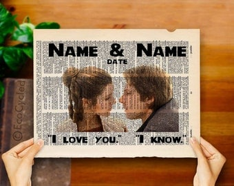 Princess Leia Han Solo Star Wars w/ Names & Date I Love You I Know fc Vintage Upcycled Dictionary Art Print Book Print Wedding Anniversary