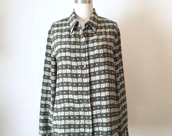 SALE Vintage Unique Green Square pattern Button Down Shirt, Men's Medium