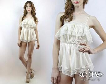 Bridal Lingerie Bride Gift Vintage Slip Lace Slip Vintage Nightie Off White Slip Lace Romper Tap Shorts Vintage 80s Off White Lace Slip XS