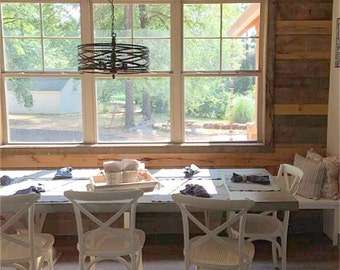 Farm style table - farmhouse table with benches - reclaimed wood kitchen table - rustic table - Restoration Hardware inspired