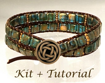 """Jewelry Making KIT for Wrap Bracelet with beads, leather, supplies & step-by-step beading tutorial. """"Deep Forest Mysteries"""""""
