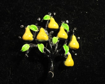 Vintage Enamel Yellow Pear Tree Brooch