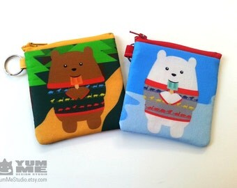 Bears in Sweaters Zipper Bags 2 sizes and styles (Made to Order)