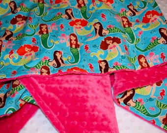 Michael Miller Sea Beauties Turquoise on Fuchsia Minky Dot Blanket- Baby, Toddler or Child Size