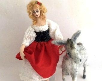 Cloth art doll needle felt grey donkey soft sculpture Dulcinea from Don Quixote classic tale
