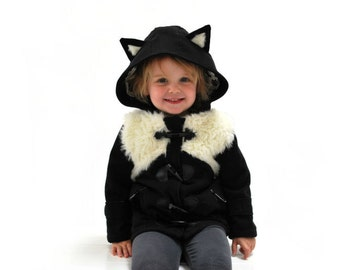 Black cat coat CHRISTMAS 2017 - pre order childrens fluffy white faux fur kitten winter duffle jacket baby babies toddler black