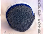 CROCHET PATTERN to make a Football Helmet Baby Hat in 3 sizes, plus optional chin straps. Instant Download, PDF Format