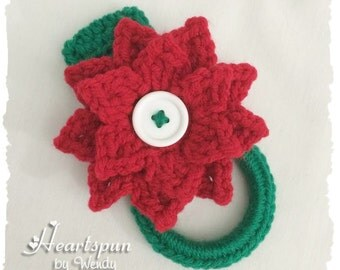 Christmas Poinsettia dish towel or hand towel ring, great for holding towels in the kitchen, bathroom, laundry.