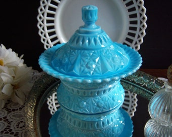 """Blue Milk Glass - Challinor and Taylor """"Clio"""" Butter Dish - Blue Milk Glass Butter Dish - Daisy and Button - EAPG 1880's"""