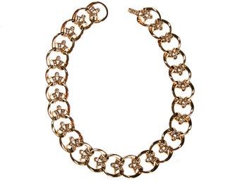 Gold Scroll Link Rhinestone Choker Necklace, 1950s, 1960s Era