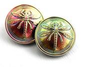 18mm Dragonfly Czech Glass Button, Iridescent Pink Green, Handmade Button bead, size 8, 1pc - 2755