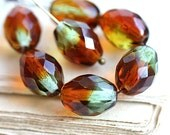 Brown Topaz Green Large Olive shaped beads, czech fire polished oval beads, 13x10mm - 6Pc - 2506