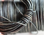 1mm Round Natural Leather cord - Vintage Black with grey hints - 10 feet, LC075
