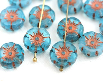 6pc Opal Blue Czech glass Flower beads, Blue Daisy Copper inlays, Hawaiian flower, Pansy, 12mm - 0743