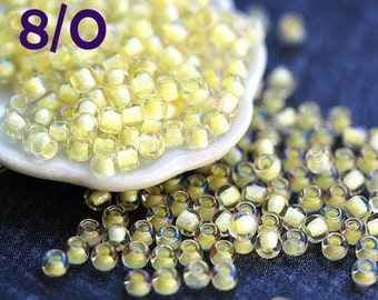 Buttercream yellow beads, Toho seed beads, size 8/0, Inside-Color Luster Crystal Opaque Yellow Lined  N 182 - 10g - S717
