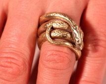 Antique Snake Wrap Brass Ring Large French Art Nouveau Jewellery Ring Size 8.50 US Approx For Her for Him