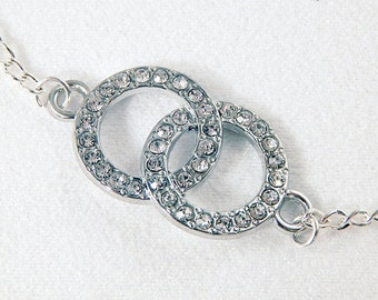 Silver Dainty Necklace - Crystal Rhinestone Infinity Circle - Gifts Under 15