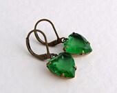Green Heart Earrings .. emerald green, glass jewel earrings, vintage glass, small dangle earrings