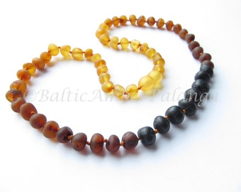 Raw Unpolished Baltic Amber Necklace Rounded Rainbow Color Beads. For Adults