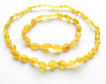Raw Unpolished Baltic Amber Set For Baby and Mommy Lemon Color Olive Form Beads