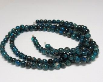 "Blue Apatite Round Beads, 5 1/2 to 6mm Teal Blue Apatite Gemstone Beads, 15"" Strand - 73 pcs"