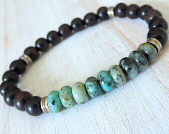 Positive change, Mens African Turquoise, ebony wood, tribal bracelet, wood mala, bracelet mala, Yoga, Reiki, energy bracelet, tribal, Mala
