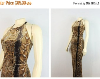 CLOTHING SALE Vintage Dress 90s Ginger Bort Stretch Velvet Snakeskin Print 3 Necklace Beige Brown High Neck Pg Collections Made in USA Size