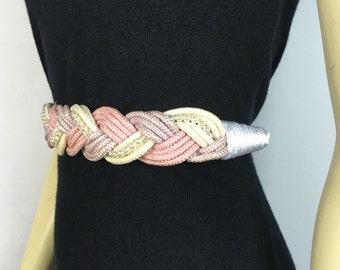 Vintage Belt 70s 80s Pastel Pink  Lavender Pearl Accent Rope Belt Medium to Large