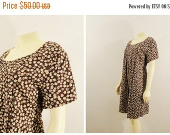 SALE Vintage Dress 90s Grunge Brown Floral Pleated Bodice California Maternity Concepts Deadstock NWT M