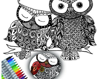 Owl Decal, Color My Wall, Vinyl Wall Art, Do-it-Yourself, Art Project, Adult Coloring, Owl Coloring Decal, by Abby Smith