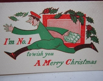 Colorful 1930's art deco humorous christmas card from a milkman shows milkman running with milk and holly berry flying in the air Schulte