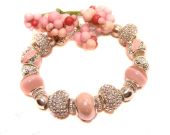 Gorgeous Pink and Crystal Bracelet with European Large Hole Beads, pink bracelet, pretty in pink, think pink, pretty bracelet