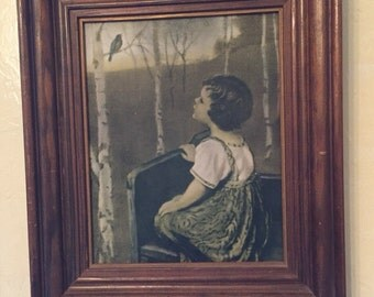 Vintage framed girl with bluebird print
