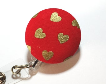 Gold Heart Badge Reel Valentine's Day Badge Reels Retractable ID Badge Reel ID Badge Holder Name Badge Clip Badge Pull Nurse Badge Reel