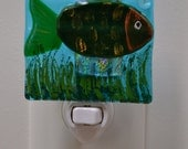 Green Fish Fused Glass Night Light