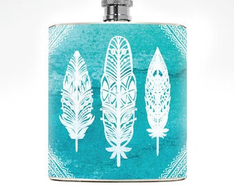Ladies Boho Feather Tribal Design Womens Flask Drinking Gifts Mens Liquor Whiskey College Girl Girlfriend Birthday Turquoise