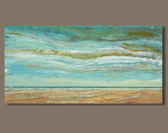 textured original painting by Sage Mountain Studio, abstract painting, panoramic painting, beach landscape, ocean, 18x36, Trade Winds