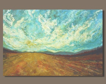 wheat field painting, abstract painting, big sky clouds, golden yellow, abstract landscape, sunrise, sunset, golden wheat, harvest, 24x36