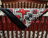 Baby Boy Crib Bedding - Buck Deer, Lodge Red Black Buffalo Check, and Red Black Gray Ivory Aztec Crib Bedding Ensemble
