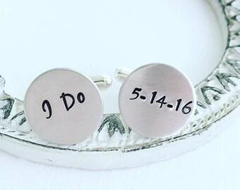 Personalized Cufflinks - I Do Wedding Cufflinks - Hand Stamped Cufflinks - Cufflinks for Dad - Wedding Cufflinks - Custom Cufflinks