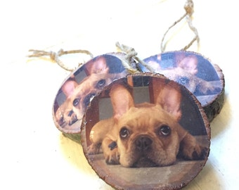 Double Sided Wood Cut Photo Ornament.