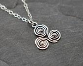 Triskele necklace in sterling silver celtic triple spiral